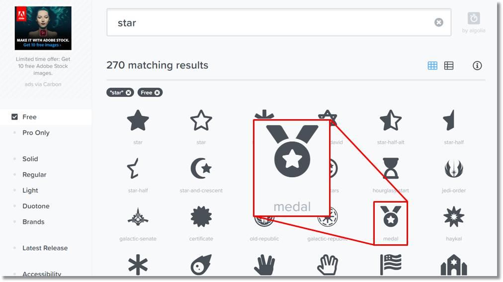 「star」を名称に含まないアイコン